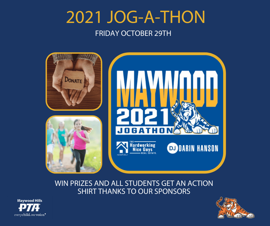 images of hands with a donation sign, kids running and the jogathon logo